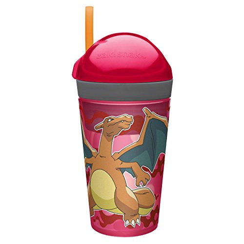 Zak Designs POKC-S110 Zak Zak Designs ZakSnak Snack & Drink Container, 10 oz, Pokemon - Red