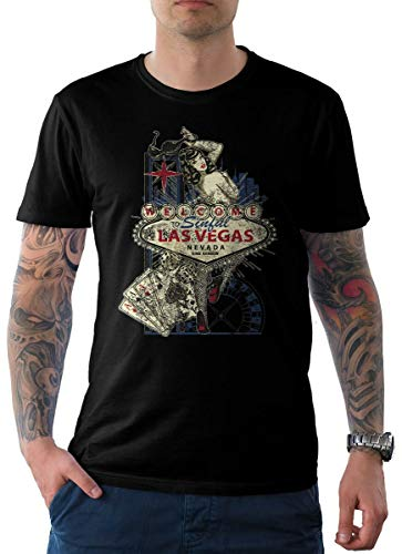 King Kerosin Herren T-Shirt Schwarz Pin Up Edition 15-Las Vegas XL