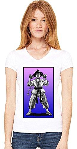 Makoto Graphic Illustration T-shirt col V de la femme Small