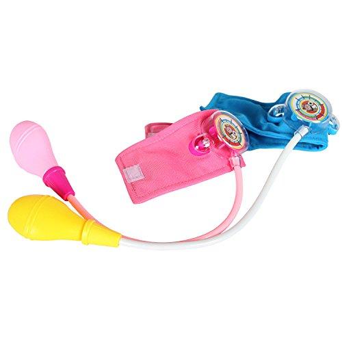 QYHT Kind Blutdruckmessgerät Spielzeug, Rollenspiel Arzt, Blutdruck Spielzeug, Geeignet für Kinder ab 3 Jahren, 38 * 20CM (Blau + Rot)