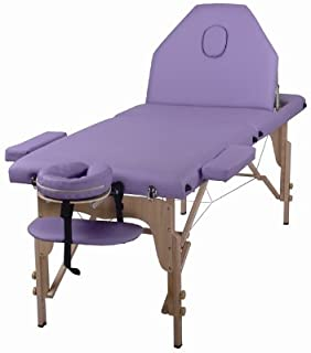 The Best Massage Table 3 Fold Purple Reiki Portable Massage Table - PU Leather High Quality w/Free Acessories