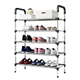 5 Tiers Shoe Rack Stackable Shoe Tower Shelves Storage Organizer Hallway Cabinet Space Saving Holds 15-20 Pair of Shoes (Black)