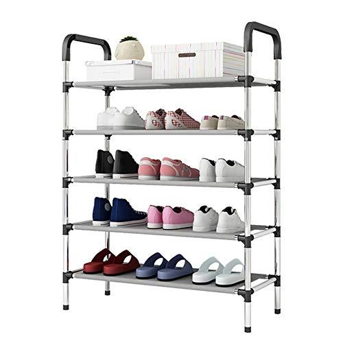 5 lagen schoen rack stapelbare schoen toren planken opslag organisator hal kast ruimtebesparing houdt 15-20 paar schoenen (zwart)
