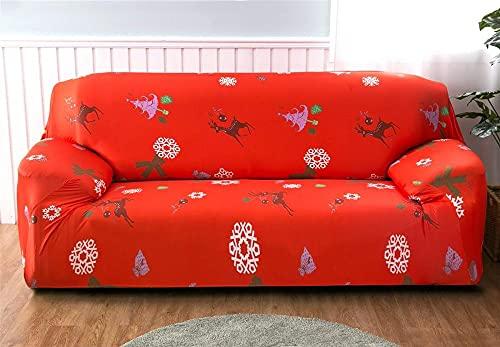 Funda de Sofá Nuevo Look 1 2 3 4 Plazas Copo de Nieve de Navidad Blanco Rojo Impresas Cómodo y Refrescante Fundas de Sofa Elasticas Antideslizante Forros para Sofas 3 plazas: 190-230 cm