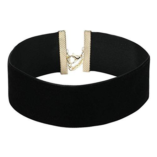 AnazoZ Joyería de Moda Gargantilla de Terciopelo Negro para Mujer, Simple Extender Gothic Chunky Choker Collar Gargantilla para Mujer