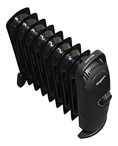 HomeStoreDirect Mini Oil Filled Radiator 1000W 9 Fin – Portable Electric Small Heater – Adjustable Temperature & Tip Over Safety Switch – Black