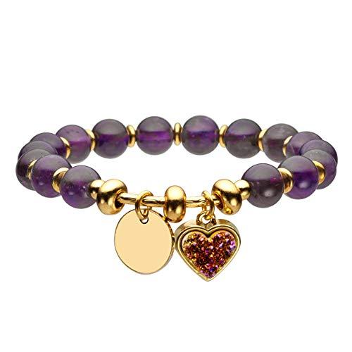 Jovivi Bracelet avec Cœur, équilibre du chakra avec pierres dures N+naturelles et verres, pendentif en métal, bijoux, bracelet avec perles pour femme Améthyste