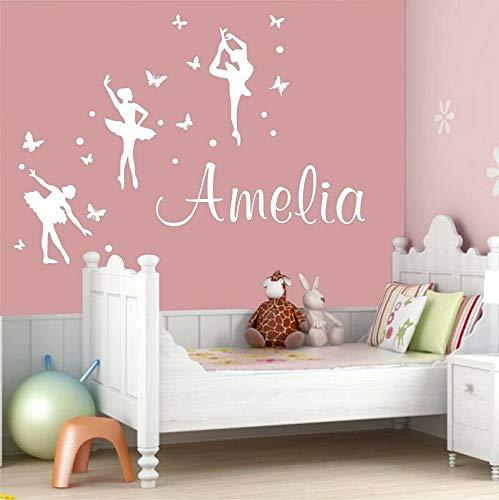 jtxqe Ballerina Personalisierter Name Ballett Mädchen Wandaufkleber Für Zuhause Abnehmbare Wandaufkleber Wird Für Office Home Decal Art Verwendet 43X59Cm