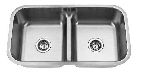 Big Sale Best Cheap Deals Yosemite Home Decor MAG3218 18-Gauge Stainless Steel Undermount Double Bowl Low Divider Kitchen Sink