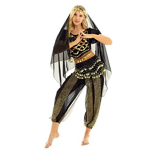Freebily Vestito Danza del Ventre Donna Schiena Scoperta Danza Orientale Completo Costume Carnevale Donna Principessa Araba Belly Dance Cosplay Halloween Nero Taglia Unica