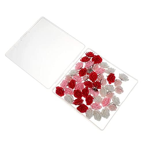LIXBD Lot de 40 punaises décoratives en forme de fleur pour photos, cartes, tableau d'affichage ou tableau en liège Rouge