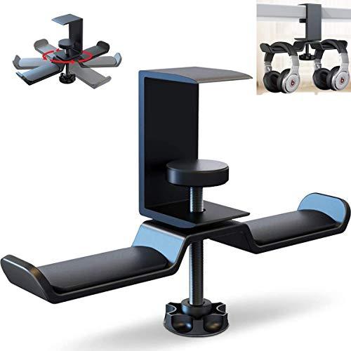 Supporto per Cuffie Gaming Supporto per auricolari da scrivania Universal Stand Cuffie Scrivania Pieghevole in Alluminio Supporto Cuffie Gaming Regolabile e Girevole Morsetto per Tutte Le Cuffia