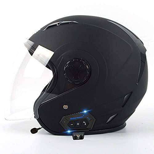 CDPC Casco retro de media Bluetooth, casco de motocicleta para adultos, aprobado por DOT, estilo vintage, para ATV Cruiser ciclomotor, scooter para hombres y mujeres