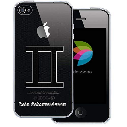 dessana sterrenbeeld met datum transparante silicone TPU beschermhoes 0,7 mm dunne mobiele telefoon soft case cover tas voor Apple, Apple iPhone 4/4S, Tweeling verjaardag