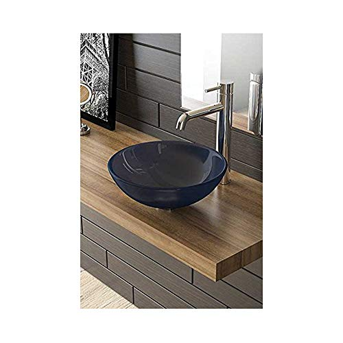 Blauwe glazen waskom Ø 38 Alpenberger wasschaal opzetschaal wastafel badkamer