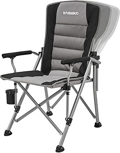 FUNDANGO アウトドア チェア キャンプ リクライニング ラウンジチェア 折りたたみ椅子 アームチェア 背もたれ 取り外す可 耐荷重約136kg スチール カップホルダー 収納袋付き