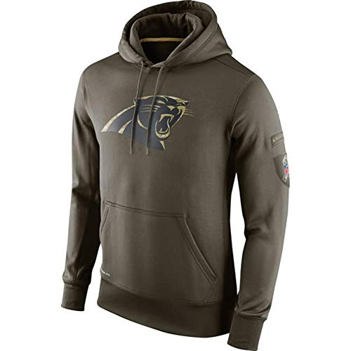 FWHACMT NFL Carolina Panthers Hoodie 2019 Salute to Service Military Edition Grün Kapuzenpullover für Haerren Langarm Pullover Sweatshirts für American Football Fans Bekleidung Sweater,L