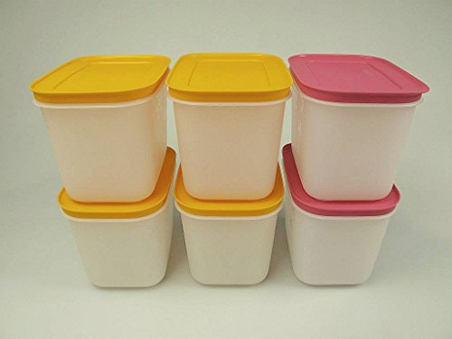 TUPPERWARE Gefrier-Behälter Eiskritall 1,1L (2) pink + (4) orange Eis-Kristall 29496