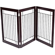 Internet's Best Traditional Wire Dog Gate - 3 or 4 Panel - 30 Inch Tall Pet Puppy Safety Fence - Fully Assembled - Wooden & Wire - Stairs Folding Z Shape Indoor Doorway Hall Stairs