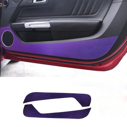 AXD Carbon Fiber Door Anti Kick Sticker Guard Trim for Ford Mustang 15-17 Black Red and chameleon color (chameleon)