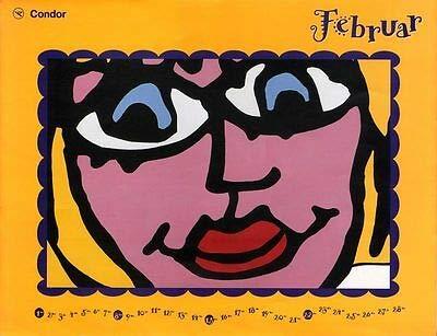 Kunstdruck Plakat James Rizzi Condor Kalender 1998 Februar Bird auf Boeing 757 auf Platte