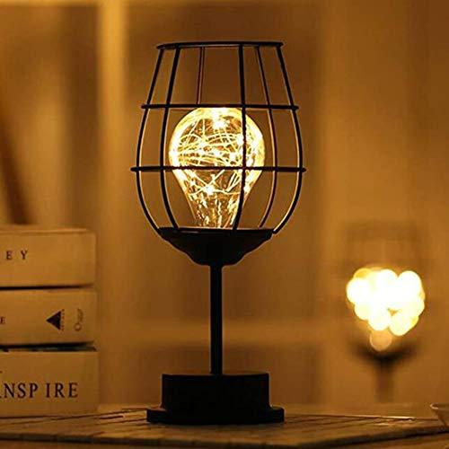 XSYL Zwarte metalen tafellamp, moderne ijzeren mand kooi nachtlampje, retro bedlampje bureaustandaard licht batterij voor slaapkamer aangedreven, A