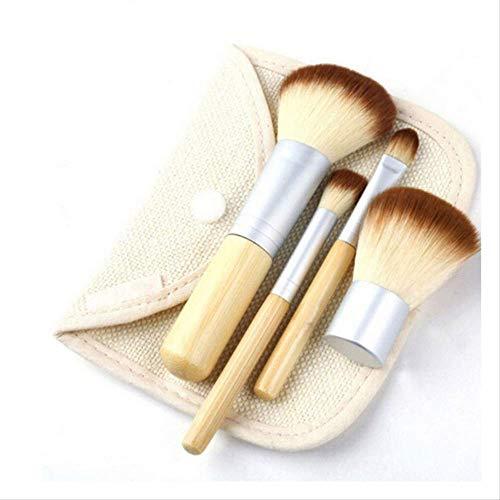 Pinceaux Maquillages Ensemble De 4 Courroies De Manche En Bambou Sac En Lin Ensemble D'Outils De Beauté