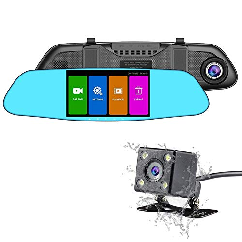 Dash Cam Backup Camera NEXGADGET Mirror Dash Cam 1080P Dual Lens Video Recorder, 4.5 Inch HD Touch Screen G-Sensor Loop Recording Reversing Function, 150°Weatherproof Rear Camera