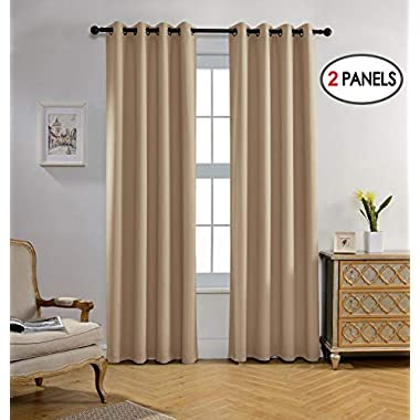 Miuco Blackout Curtains Room Darkening Curtains Textured Grommet Window Curtains Living Room 2 Panels 52x84 Inch Long Taupe