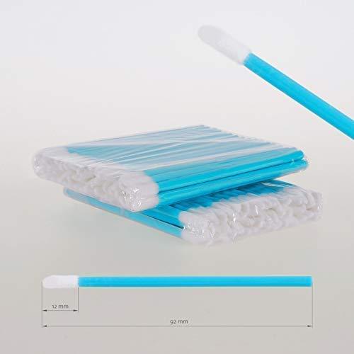 Lot de 100 bâtonnets de nettoyage en microfibre pour extensions de cils sans peluches Turquoise