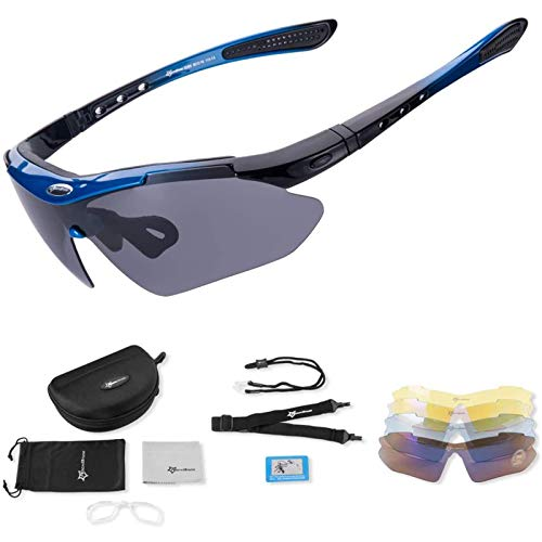 Gafas de Sol Deportivas polarizadas Protección UV Gafas de Ciclismo con 5 Lentes Intercambiables Gafas de Bicicleta TR90 Marco irrompible,Azul