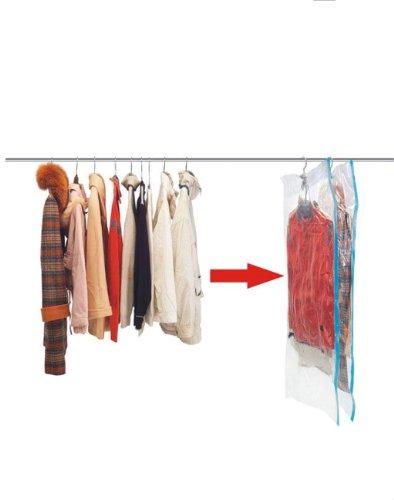 Kronenburg Vakuumbeutel zum Aufhängen 70x145cm + 70x105cm, 6 tlg. Set - Vakuum Kleiderbeutel mit Haken wiederverwendbar-Aufbewahrungsbeutel für Kleidung, Anzüge, Mäntel und mehr - weitere Sets wählbar