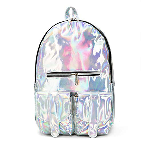 ZumZup Unisex Rucksäcke Damen Mädchen Jungen Rucksack Mode PU Leder Laser Schulrucksack Daypack Backpack Glänzer Tasche 39 * 25 * 13 cm Silber