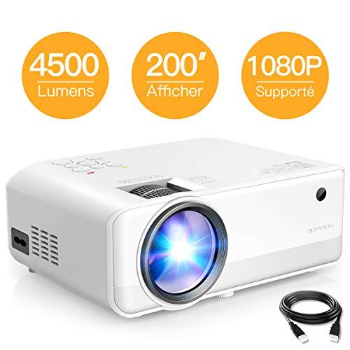 Projecteur APEMAN 4500 Lumens, Full HD 1080P Supporté Mini Portable Vidéoprojecteur, Deux Haut-Parleurs Multimédia...