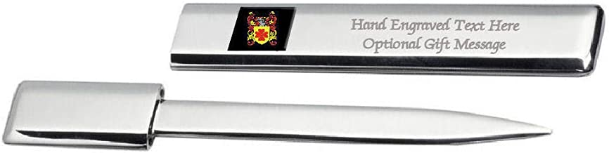 Musgrove Family Crest Surname Coat Of Arms Heraldry Engraved Letter Opener