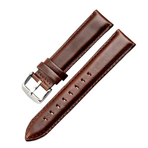 marrone 20 millimetri decente classico orologio da polso cinturino cinturino alla superficie liscia per gli uomini genuina pelle di vitello