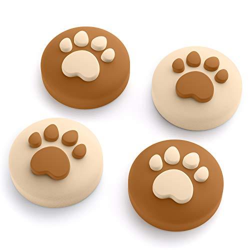 Cat Claw Design Daumen Griff Kappen, Joystick Kappe Thumb Grip Geeignet für Nintendo Switch & Lite, Weiche Silikonhülle für Joy-Con Controller (Kaffee)