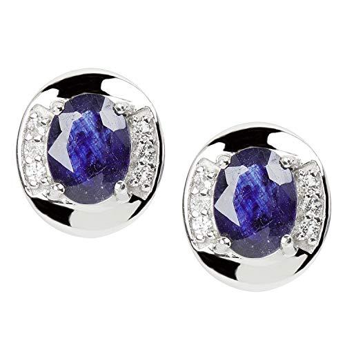 Harry Ivens Damen Ohrstecker Ohrringe aus 925 Silber mit Saphir blau und Weißtopas
