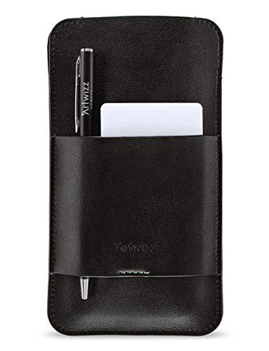 Artwizz PouchPouch Handy-Tasche in klassischer Lederoptik für Motorola Moto G6 Plus - Etui mit praktischen Stauraum durch Innen- & Außenfach - Schwarz