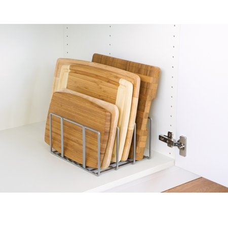 Seville Classics Vertical Pan Lid Rack Kitchen Counter and Cabinet Organizer, 10' W x 8.5' D x 5' H, Platinum