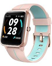 Lintelek Smartwatch, 1,3 inch touch-kleurendisplay met ingebouwde GPS-fitnesstracker met hartslagmeter, slaapmonitor, fitnesspolshorloge, waterdicht sporthorloge, stappenteller, voor dames en heren