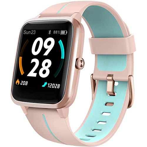 Lintelek Smartwatch de Pantalla táctil,Pulsera Actividad con Monitor de Pasos, Calorías, Sueño y Ritmo Cardíaco, Reloj Inteligente Impermeable, Reloj Deportivo Compatible con iOS y Android (205G-PKBL)