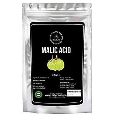 Naturevibe Botanicals Malic Acid Powder, 1 Kg   Alpha Hydroxy Acid   Boosts Immunity   Suitable for Wine Making