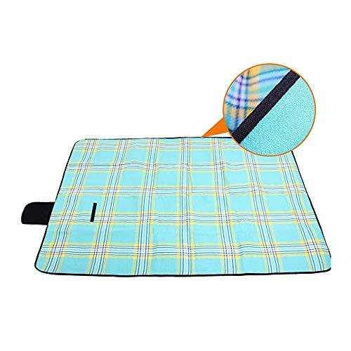 Strandzelt Kariertes Muster Große Picknickdecke im Freien Matte Wasserdicht Sanddicht Camping Matte Teppich Boden Gras Decke 170 x 130 cm Camping Zelt (Color : Plaid Lake Blue, Size : 170 x 130 cm)
