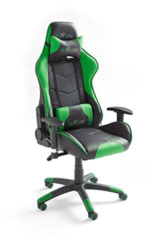 Robas Lund MC Racing 8 Silla de Gaming/Oficina/Escritorio con Asiento Deportivo, Poliester, Negro y Verde, 58x69x125 cm