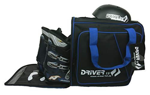 Driver13 ® Skistiefelrucksack mit Helmfach + Skischuhrucksack mit Helmfach für Hart + Snowboard Boot + Inliner + Bootbag Tasche schwarz-blau