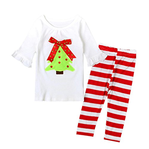kingko® Enfants Bébés Filles Outfit Manches Longues T-Shirt Top + Longues Leggings Pants Habillement Set de Noël (1T)