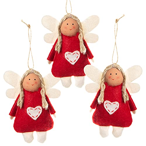 Logbuch-Verlag 3 angeli in feltro rosso, ciondolo a forma di angelo custode, per Natale, portafortuna, albero di Natale, albero di Natale, in feltro, 9,5 cm