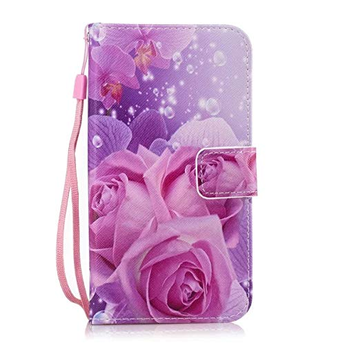 Dteck Wallet Case for Samsung Galaxy S5 Case, Colorful Print Flip Book Style Protective Wallet Case with Magnetic Clasp Card Holders Hand Strap Cover for Samsung Galaxy S5 I9600, Magnolia Rose