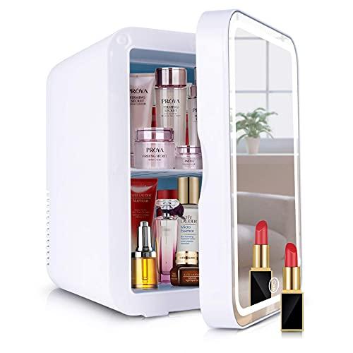 QMYYHZX 2 En 1 Mini Nevera Refrigerador Cosmético,8L Enfriador Y Calentador Termoeléctrico Portátil Compacto con Luz LED, Adecuado para Dormitorio, Oficina, Dormitorio, Coche